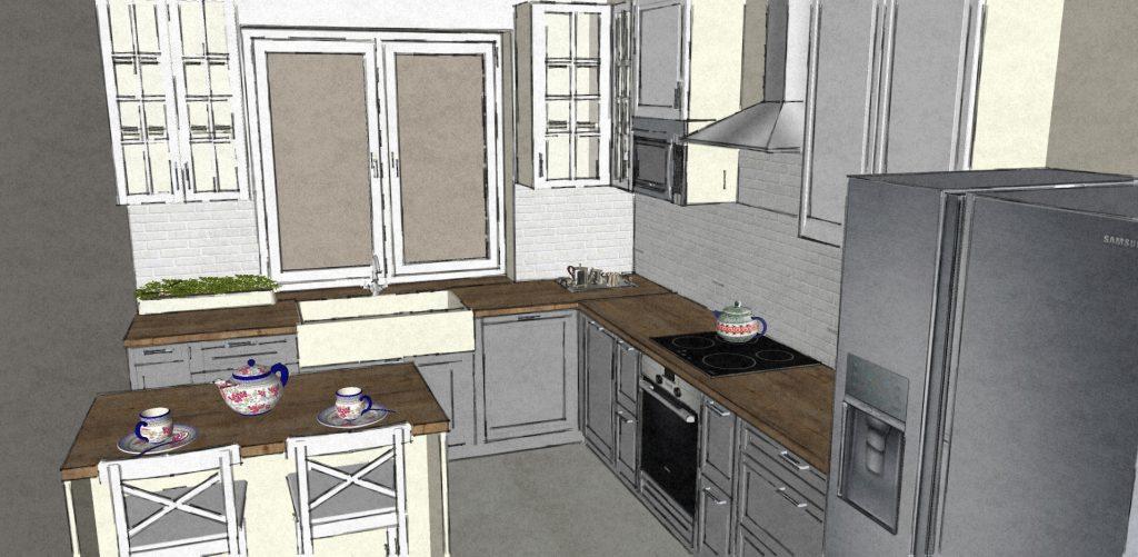 Projekt kuchni. Sposób prezentacji projektu-szkic kolorowy.